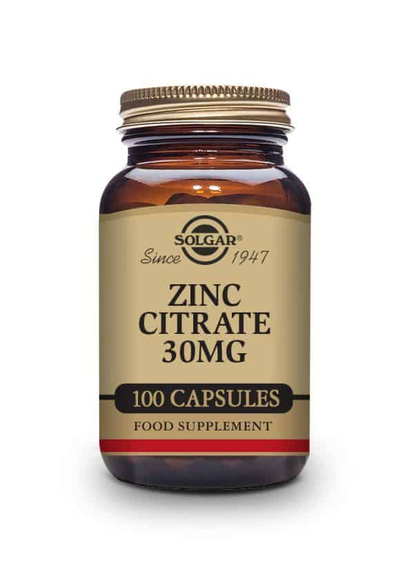 Zinc Citrate 30 mg Vegetable Capsules