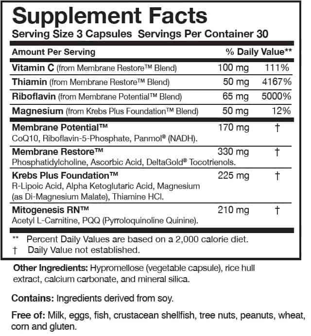 ATP 360 - Researched Nutritionals -ingredients